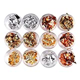 Leevia 12 Boxes Foil Nail Art Chip Glitter Gold Silver Copper Nail Foil Paillette Nail for Nail Art Design Decoration (4 Colors)