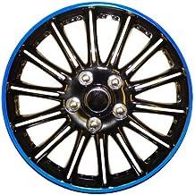 Peugeot 206 14 – Potenciador de (Negro con Azul de rayas Car Hub Caps tapacubos