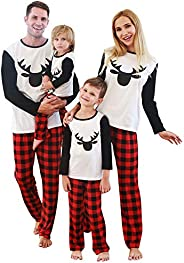 SANMIO Pijamas Familiares de Navidad, AlgodónTop de Manga Larga + Raya Pantalones Pijama Dos Pieza Mujer Hombr