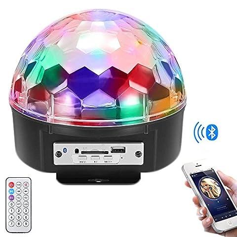 Skylove Bühnenlichter, LED Kristall Magic Ball Licht Led Disco Ball DJ Lichter Bluetooth Lautsprecher Rotierende Licht mit Fernbedienung Mp3 Play für KTV Xmas