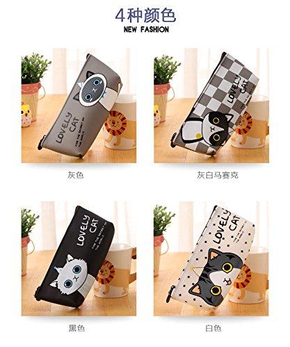 Happy Star - Estuches con diseño de gatos, color negro y blanco, color Square Patterned Pencil Case With Black Cat