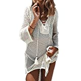 Bikini Cover Up ININUK Bikini Tunika Bluse Strandkleid Damen Push Up Strandponcho Sommer Kleid Bikini Überwurf Kaftan Strick, Weiß, Einheitgröße