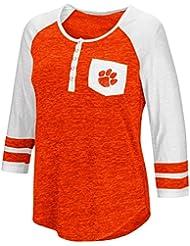 "Clemson Tigers NCAA Women's ""Inconceivable"" 3/4 Sleeve Henley Shirt Chemise"