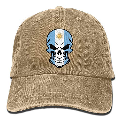 f84368fc Unisex Adult Argentina Flag Cool Skull Vintage Adjustable Baseball Cap  Denim Dad Hat army cap