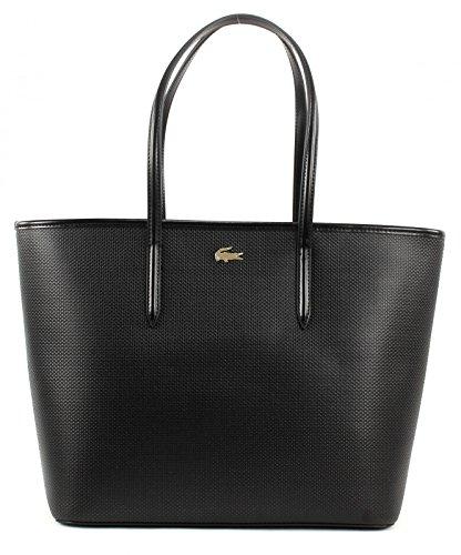 LACOSTE Borsa donna Chantaco Medium Shopping Bag Black in pelle NF1219CE