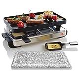 Novis 6013.21 8-er Raclette Grill Set mit Hot Stone und Dualgrillplatte, chrom