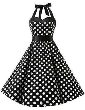 [Sponsorizzato]KUONUO Donne 1950's Audrey Hepbun Vintage con allacciatura al collo di polka dots cocktail vestito