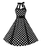 Rockabilly Kleider Damen 1950er Neckholder BH-Rock 50er Abschlussball Vintage Retro Stil Polka Dots Punkte Kleid Mit Gürtel Petticoat kleid Black white Punkt XL