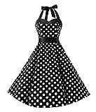 KUONUO Damen Kleider Sommer Rockabilly 50er Vintage Retro Neckholder Kleid Petticoat Faltenrock Blauer Punkt L