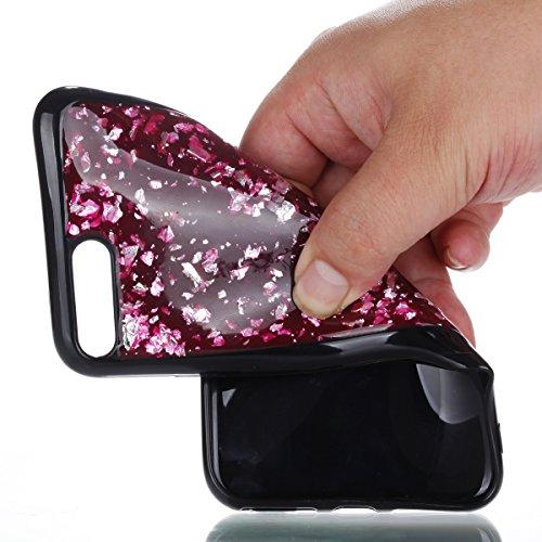 iPhone 7/8 Plus Coque, iPhone 7/8 Plus TPU Coque,iPhone 7/8 Plus Double Faces Corps entier Silicone Housse,ETSUE Coque Silicone Gel Créativité Transparent 360 Degré Avant et arrière Ultra-mince Full C paillette Rouge