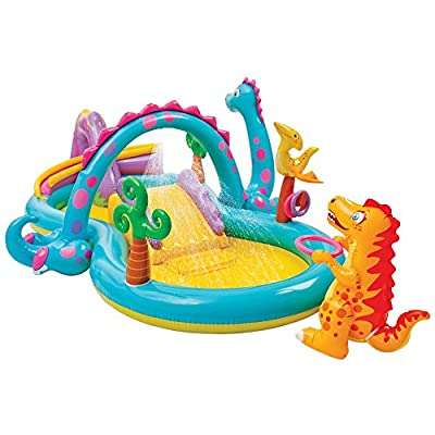Intex Dinosaur Water Play Center, Paddling Pool with Moveable Arch Water Spray. Perfect Large Activity Centre for Outdoor Family Summer Fun!