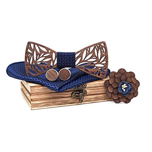 ZOYLINK Fliege Mode handgefertigte Holz Pre-gebundene Fliege mit Manschettenknopf Einstecktuch Brosche