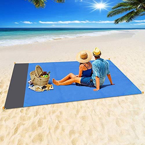 Topspitgo Coperta da Spiaggia, Coperta da Picnic Anti Sabbia 210x200 Portatile Impermeabile Coperta Tascabile con Reticule e 4 Picchetti Fixed per Picnic, Spiaggia, Escursionismo, Campeggio e Altro