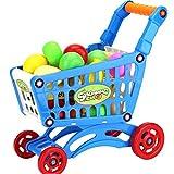 elegantstunning Bambola mobili Giocattoli di plastica supermercato Carrello della Spesa con Frutta Miniature Food Play Bambini fingere Giocattoli Blue