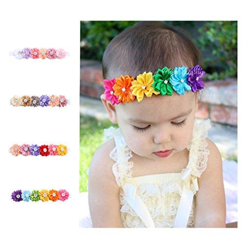 CHSEEA 4 Stück Baby Stirnbänder Elastische Haarband Turban Kleinkind Stirnband Haar Bogen Fliege Schleife Haarreifen Mädchen Head Wrap zur Kostüm Fotografie Props #5