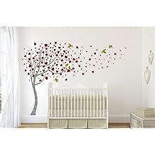 Design Divil Wall Art - Vinilo adhesivo grande para pared, diseño de árbol con corazones Vinilo adhesivo decorativo de pared de acabado mate.