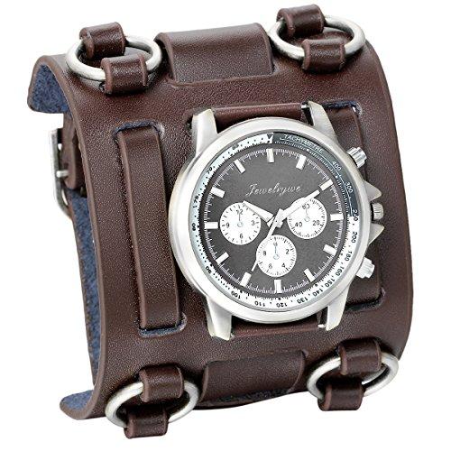 JewelryWe Herren Armbanduhr, Analog Quarz, Fashion Elegant Casual Sport Uhr mit Braun Breit Leder Armband & Schwarz Rund Zifferblatt