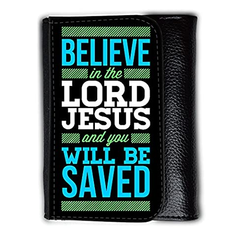 Medium Faux Leather Wallet with card slot // V00000379 Bible: Believe in the Lord // Medium Size Wallet
