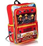 Feuerwehrmann Sam Jungen Rot Rucksack mit verstellbarer und gepolsterter Schultergurt und 1Außenfach, Größe (H33, w24.5, 9cm).