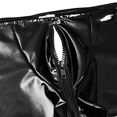 TiaoBug Herren Boxershorts Untehose Wetlook Trunks aus Kunstleder Offener Hintern dehnbar glänzend Unterwäsche Clubwear kuze Lederhose Schwarz L - 7