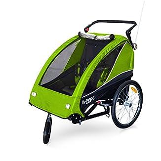 PAPILIOSHOP-B-FOX-Remolque-carrito-para-el-transporte-con-kit-de-footing-jogging-jogger-de-1-o-2-Uno-Dos-nio-nios-beb-con-la-bici-bicicleta-rueda-delantera-giratoria-360-carro-plegable-cochecito-de-co
