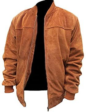 Classyak Hombre Fashion chaqueta de ante funda de piel Bomber diseño