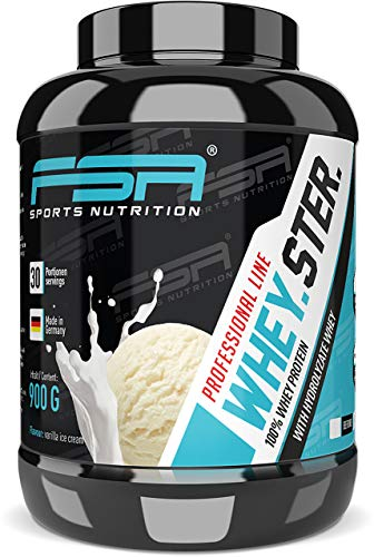 Image of Whey Protein Eiweißpulver - Besser als ein Milchshake - Aspartamfrei, Laktosearm - Made in Germany - FSA Nutrition - 900 g - Vanilla Ice Cream