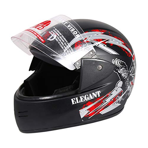 JMD HELMETS Elegant Full Face Graphic Matte Finish Helmet (Large, Black and Red)