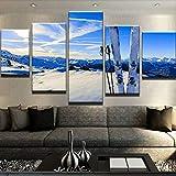 mmwin Lienzo HD Imprimir 5 Unidades Paisaje de Nieve Fotos Dormitorio Moderno Decorativo Sala de Estar Inicio Arte de la Pared Decoración