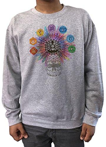Sudadera para Hombre Flor de la Vida Buda Chakra Símbolos geométrica SWT796 (Xlarge)