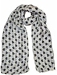 Super luxury large maxi scarf small Heart print Cream