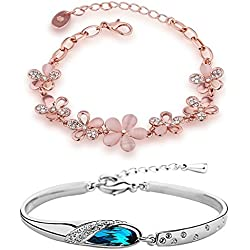 Om Jewells Combo Of Two Pink Floral And Silver Classic Colour Adjustable Bracelets For Girls And Women