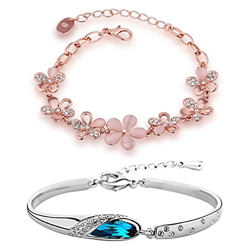 Om Jewells Combo Of Two Pink Floral And Silver Classic Colour Adjustable...