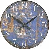 Roger Lascelles - Orologio da parete con scritte in francese, colore: Blu