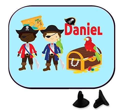 wolga-kreativ Pirat Schatztruhe mit Name Auto SonnenSchutz und SonnenBlende für Baby und Kind personalisiert Wunschname (1 Stück)