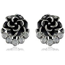 FirstBlush Non Piercing Clip-on Earrings Oxidised Silver Stone Studded for Non Pierced Ear for Women/Girl