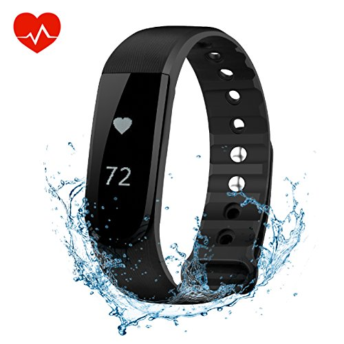 Fitness Tracker OMorc Intelligente Braccialetto Sport, Bluetooth 4.0, Impermeabile IPX7 , Attività Tracker Smart, Pedometro, Funziona Cardiofrequenzimetro, Musica Controllo, Camera Controllo, Allarme, Calorie Counter, Sleep Tracker, Compatibile con Android e iPhone, Nero