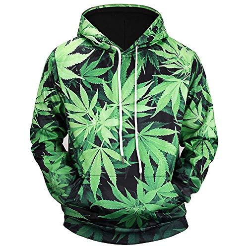 GEFANENR Männer Herbst/Winter Grüne Blätter Digitaldruck Mit Kapuze 3D Pullover Outdoor Sports Sweatshirts Trainingsbekleidung Mantel, Grün, 2XL