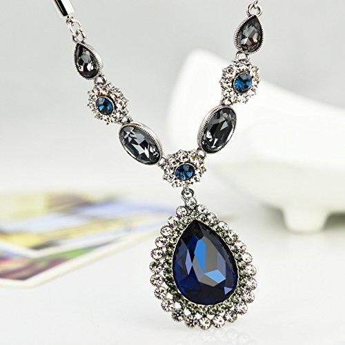 Moda catena clavicola teardrop-a forma di cristallo , ink blue