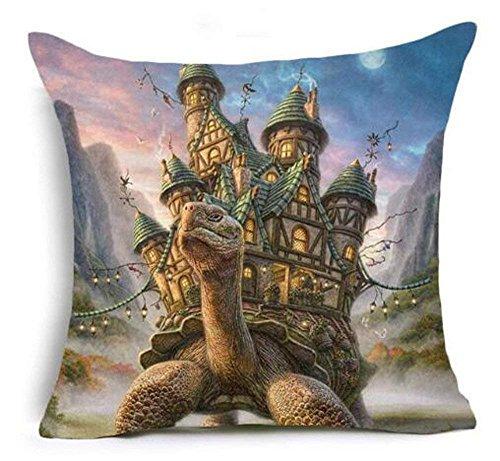 hat pillow 3D Grassland Animal Lion Wolf Marine Turtle Cotton Linen Square Decorative Throw Case Cushion Cover 18inchs (Hug Pillow Sex)