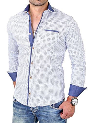 Reslad Herren Hemd Design Kontrastkragen Langarmhemd RS-7209 Weiß