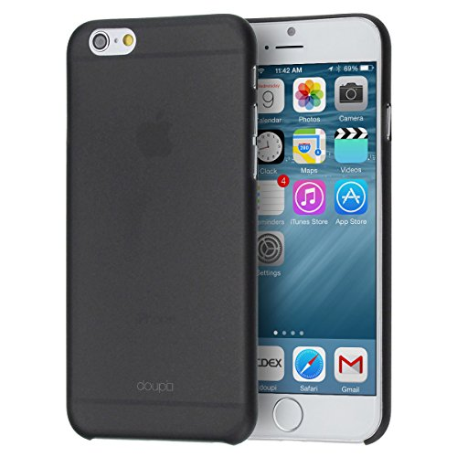 doupi UltraSlim Hülle für iPhone 6 Plus / 6S Plus (5,5 Zoll), Ultra Dünn Fein Matt Handyhülle Cover Bumper Schutz Schale Hard Case Taschenschutz Design Schutzhülle Hardcase, schwarz