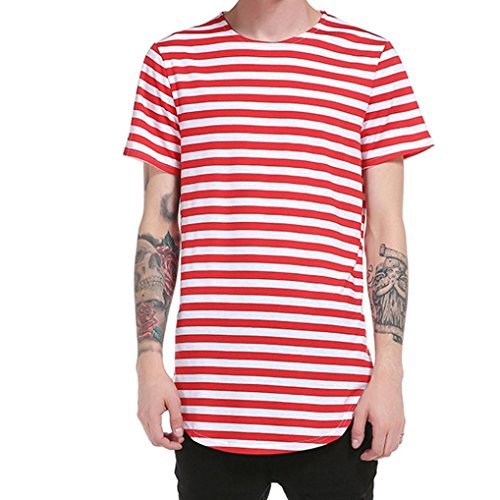 Amlaiworld Summer Slim Fit Striped Print T-Shirt Top, Modern and Cool Short Sleeve T-Shirt Polyester (L, Rot)