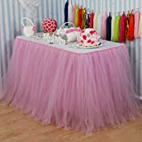 Vlovelife 100cm X 80cm Baby Pink Tulle Table Skirt Tutu Tableware Wedding Party Baby Shower Decorations Handmade Favor Customized Size Available