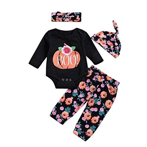 (Baby Mädchen 2018Halloween Kleidung Outfits Mingfa 4Infant Kleinkind Lange Ärmel Kürbis Strampler + Hose + Haarband + Cap Set, Kinder, Schwarz, (24M) UK)