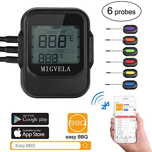 MIGVELA Grillthermometer Bluetooth mit 6 Fühlern, Funk Digitales BBQ Thermometer für Grill, Smoker, Fleischthermometer mit APP Steuer mit 100ft Reichweite, Temperature Alarm für Smoker, Grill, Backen