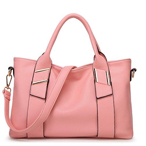 Donne Spalla Di Cuoio Di Grande Capienza Borsa Trasversale Diagonale,Red-OneSize Pink