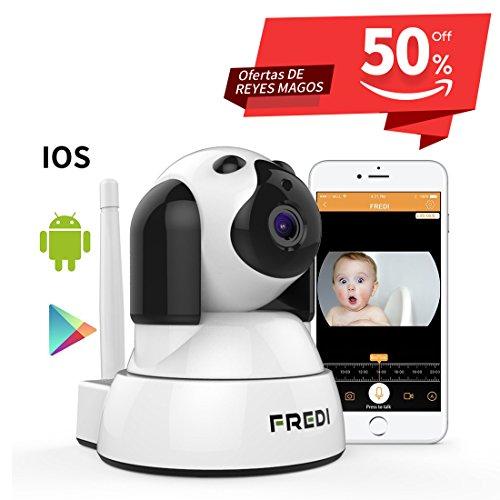 FREDI Baby Monitor IP WiFi P2P Cámara de Vigilancia / Seguridad Inalámbrica HD 720P Camara de Vigilabebes, IR Vision nocturna ,Admite MicroSD de hasta 128 GB Detección de Movimiento