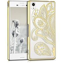 kwmobile Elegante y ligera funda Crystal Case Diseño estampado amebas paisley para Sony Xperia M4 Aqua en oro transparente