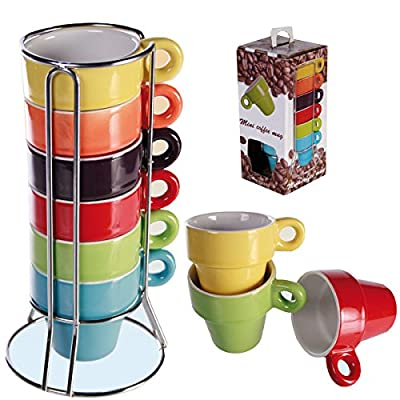 Set Of 6 Espresso Coffee Tea Mugs With Stand Latte Ceramic Cup Kitchen New Gift from OOTB
